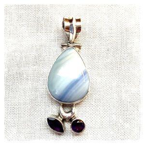 Amethyst & semi-precious stone in Sterling pendant
